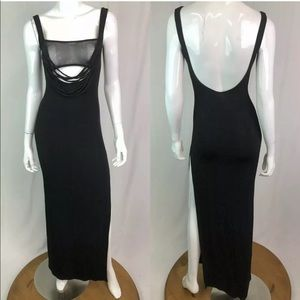 Vintage Stretchy Jersey Mesh Bodycon Long Dress
